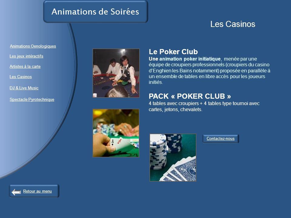 Animations de Soirées Les Casinos Le Poker Club