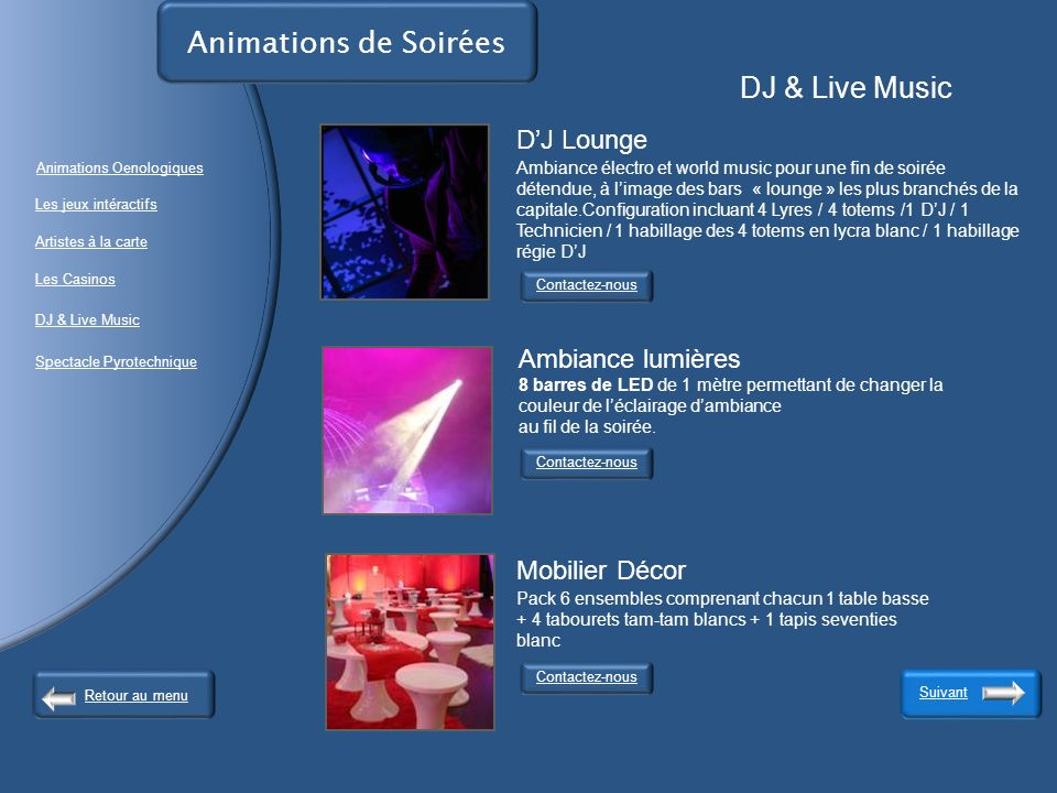 Animations de Soirées DJ & Live Music.