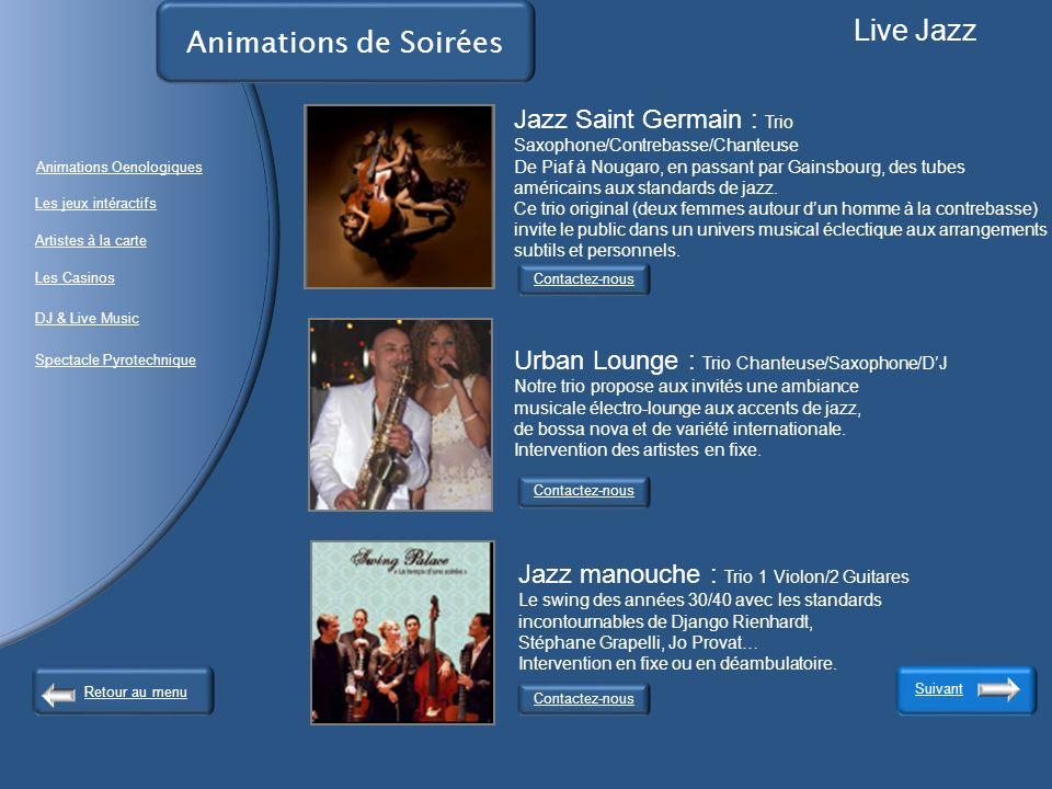 Live Jazz Animations de Soirées