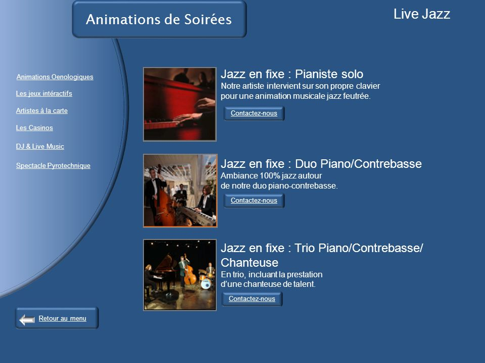 Live Jazz Animations de Soirées Jazz en fixe : Pianiste solo