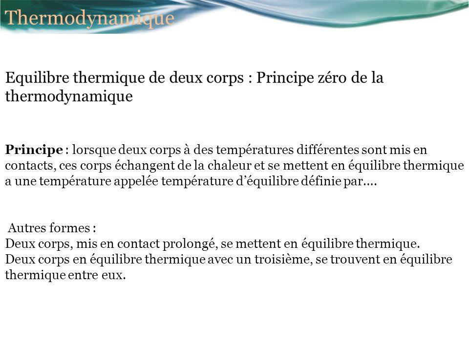 Thermodynamique Equilibre thermique de deux corps : Principe zéro de la thermodynamique.