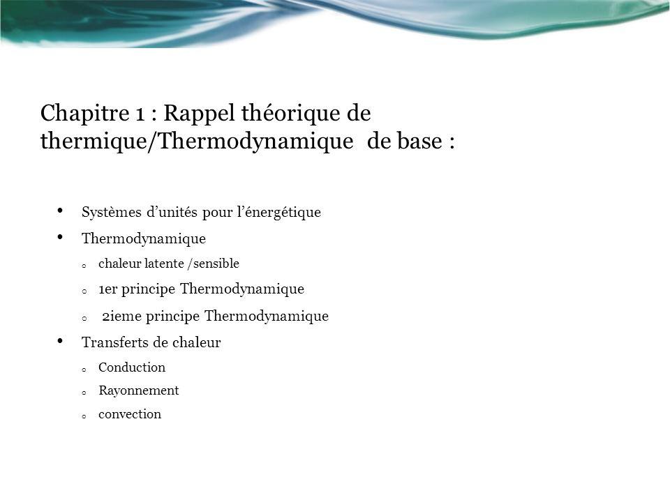 Chapitre 1 : Rappel théorique de thermique/Thermodynamique de base :
