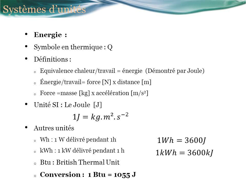 Systèmes d'unités 1𝐽=𝑘𝑔.𝑚². 𝑠 −2 1𝑊ℎ=3600𝐽 1𝑘𝑊ℎ=3600𝑘𝐽 Energie :