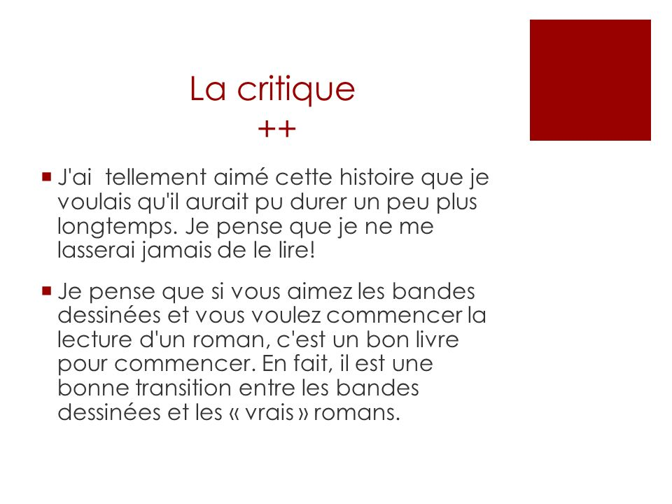 La critique ++