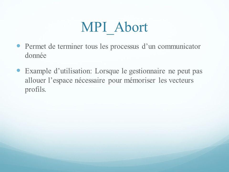MPI_Abort Permet de terminer tous les processus d'un communicator donnée.