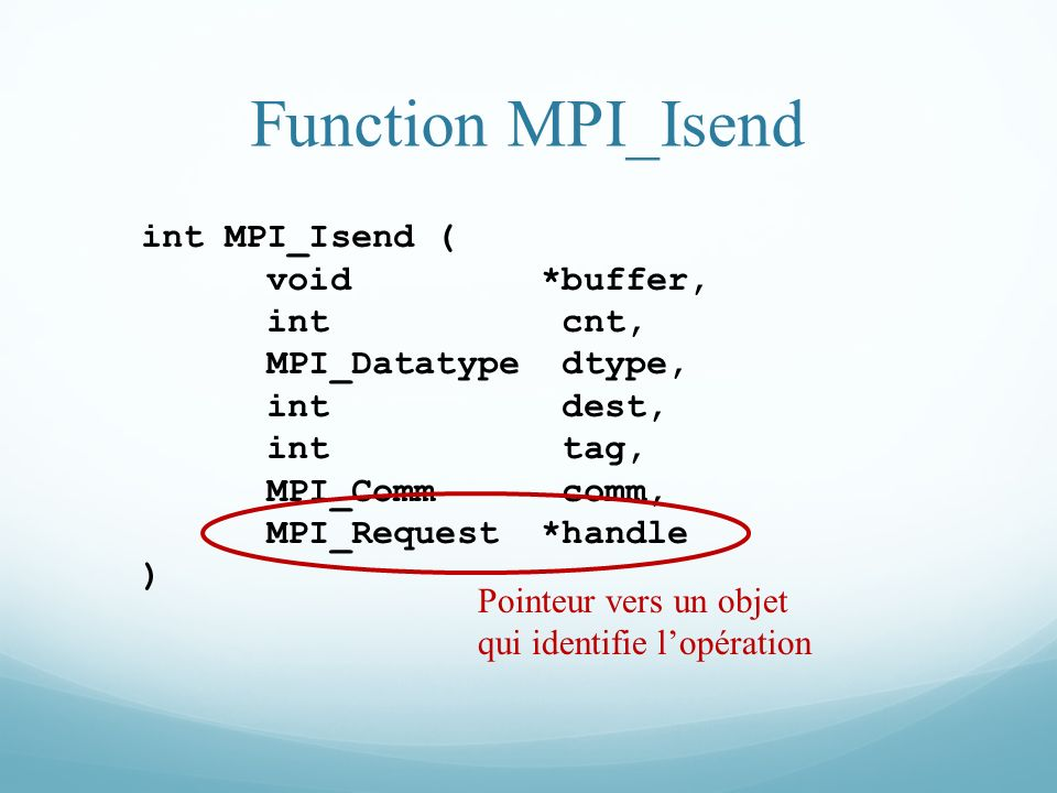 Function MPI_Isend int MPI_Isend ( void *buffer, int cnt,