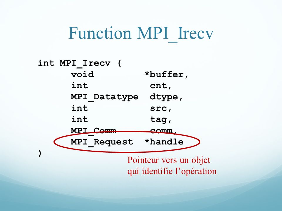 Function MPI_Irecv int MPI_Irecv ( void *buffer, int cnt,