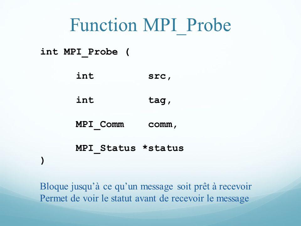 Function MPI_Probe int MPI_Probe ( int src, int tag, MPI_Comm comm,
