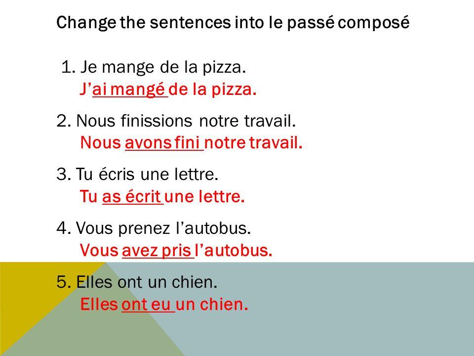 Change the sentences into le passé composé