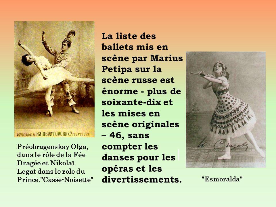 La liste des ballets mis en scène par Marius Petipa sur la scène russe est énorme - plus de soixante-dix et les mises en scène originales – 46, sans compter les danses pour les opéras et les divertissements.