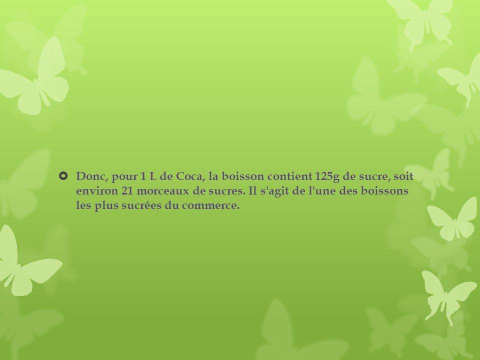 Donc, pour 1 L de Coca, la boisson contient 125g de sucre, soit environ 21 morceaux de sucres.