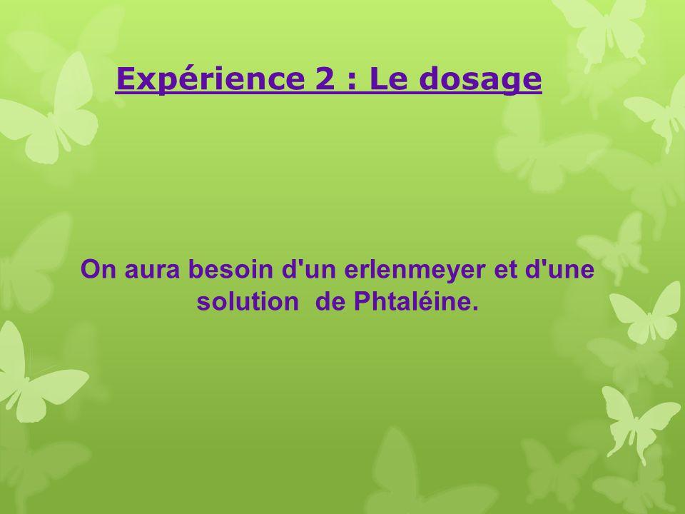 On aura besoin d un erlenmeyer et d une solution de Phtaléine.