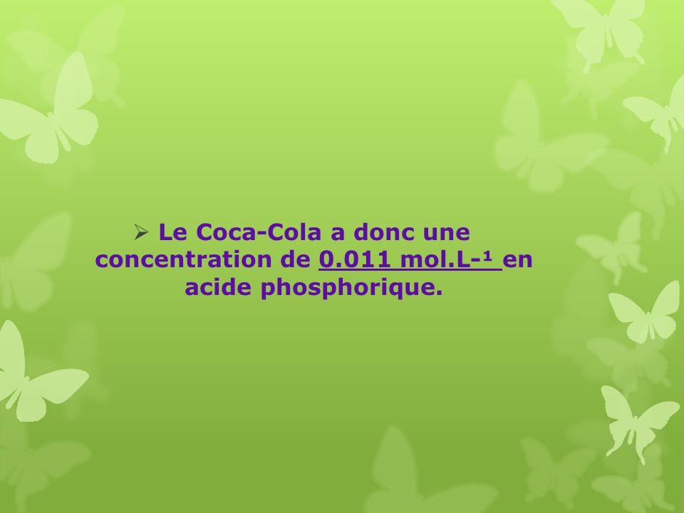 Le Coca-Cola a donc une concentration de 0. 011 mol