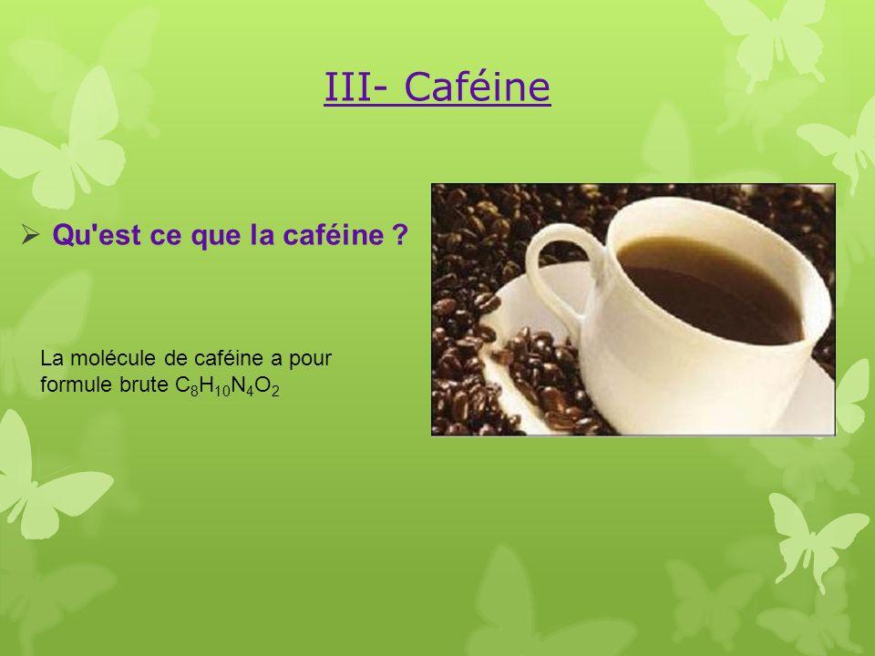 III- Caféine Qu est ce que la caféine