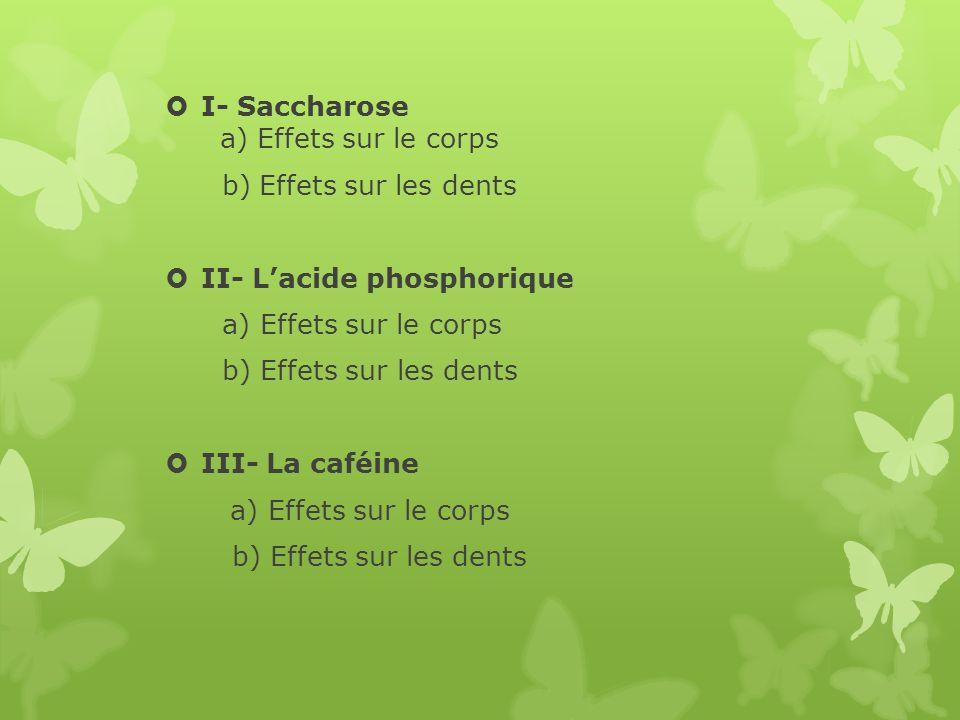 I- Saccharose a) Effets sur le corps