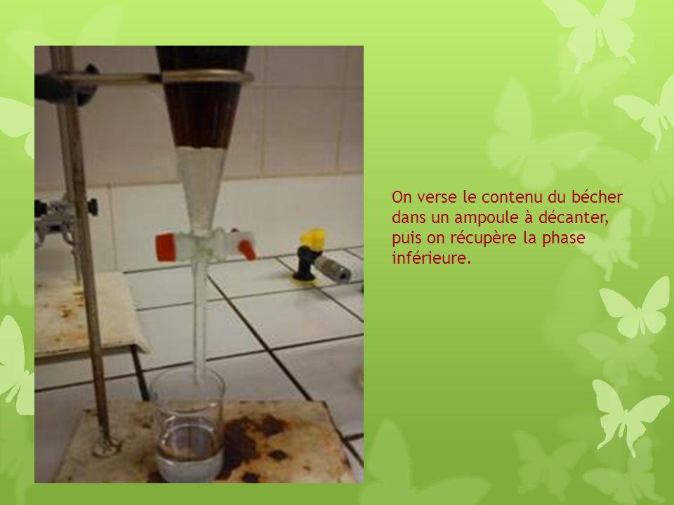 On verse le contenu du bécher dans un ampoule à décanter, puis on récupère la phase inférieure.