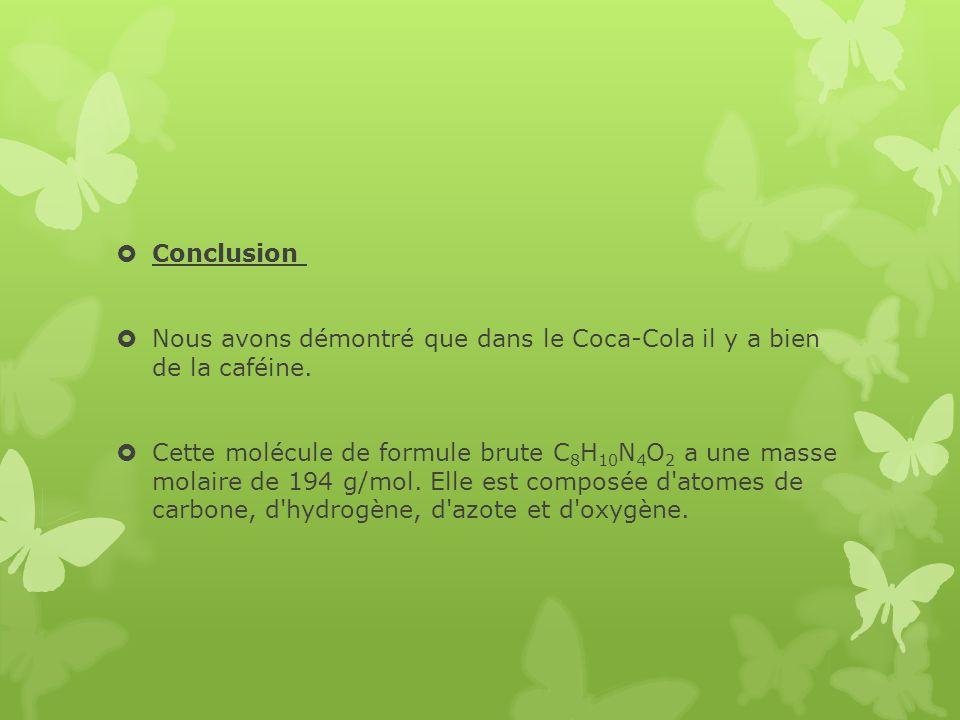 Conclusion Nous avons démontré que dans le Coca-Cola il y a bien de la caféine.