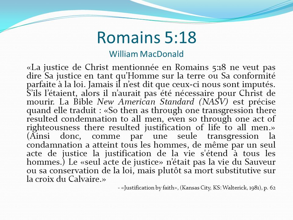 Romains 5:18 William MacDonald