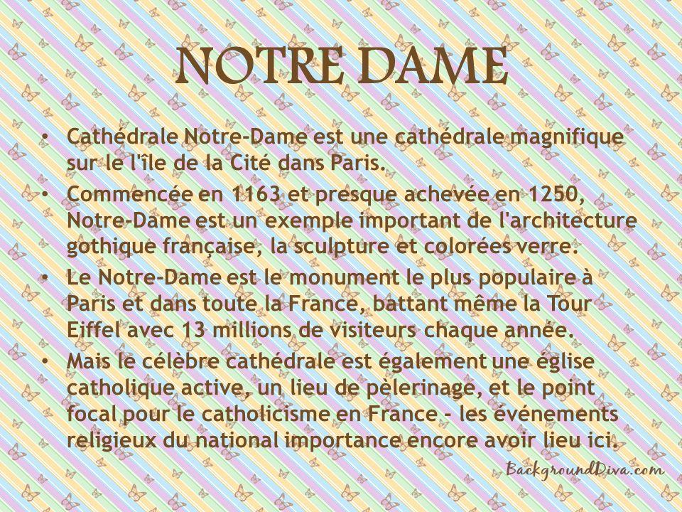 NOTRE DAME Cathédrale Notre-Dame est une cathédrale magnifique sur le l île de la Cité dans Paris.