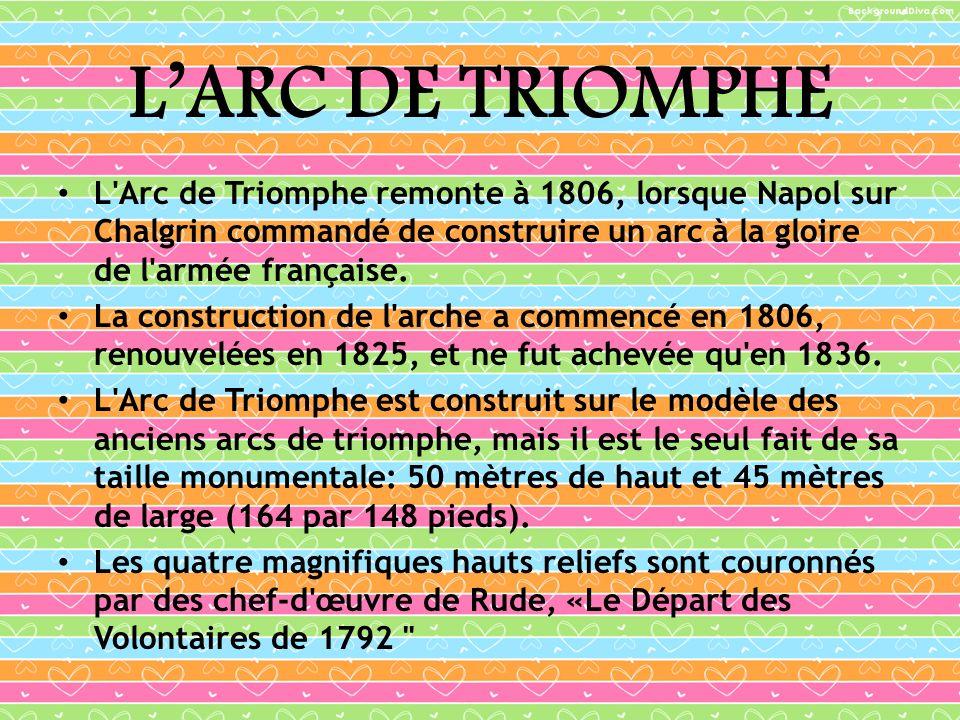 L'ARC DE TRIOMPHE L Arc de Triomphe remonte à 1806, lorsque Napol sur Chalgrin commandé de construire un arc à la gloire de l armée française.