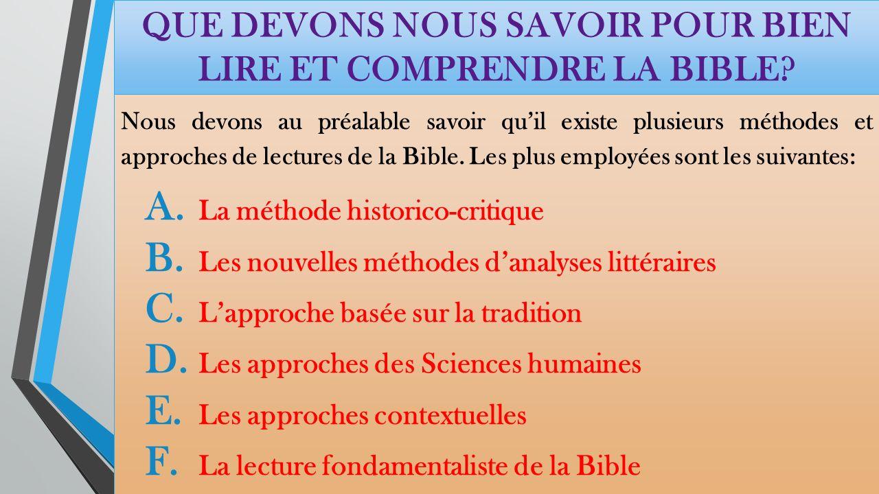 QUE DEVONS NOUS SAVOIR POUR BIEN LIRE ET COMPRENDRE LA BIBLE
