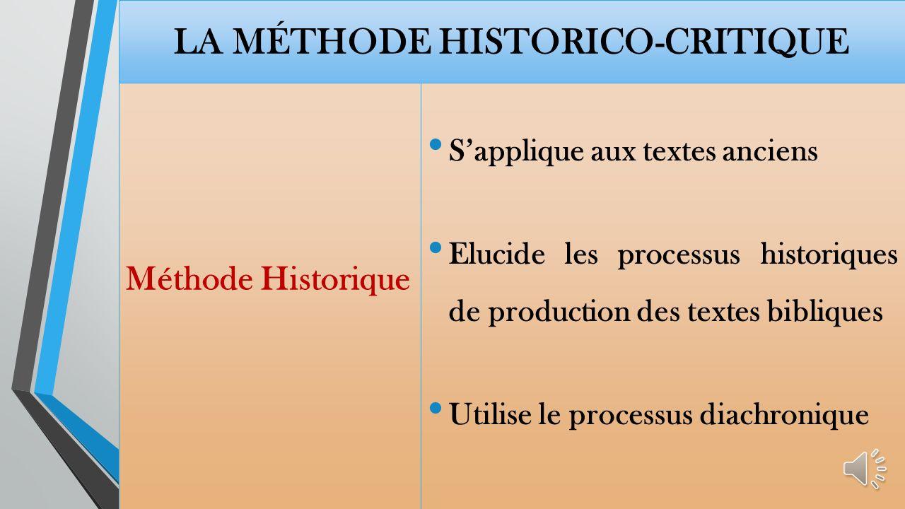 La méthode historico-critique