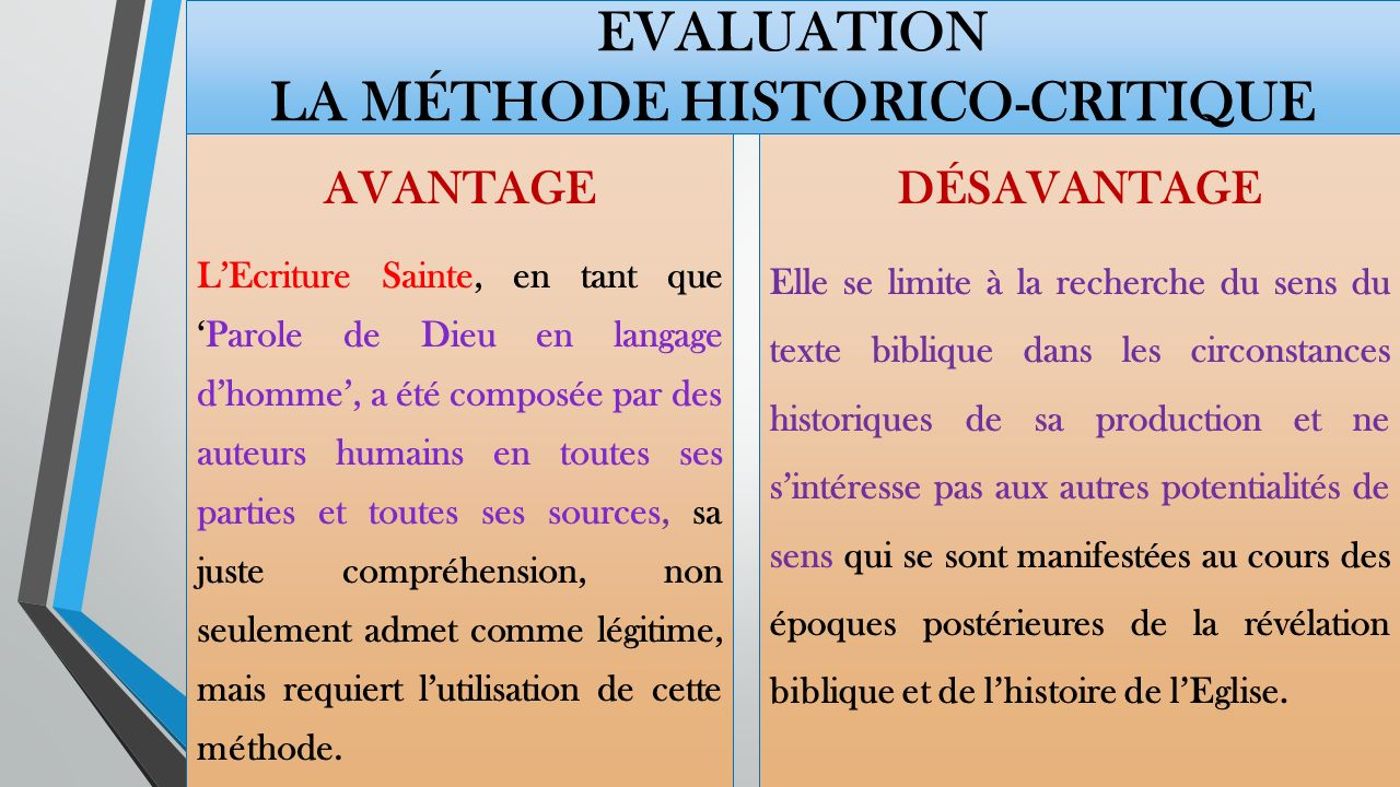 Evaluation La méthode historico-critique