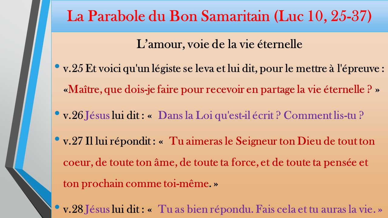 La Parabole du Bon Samaritain (Luc 10, 25-37)