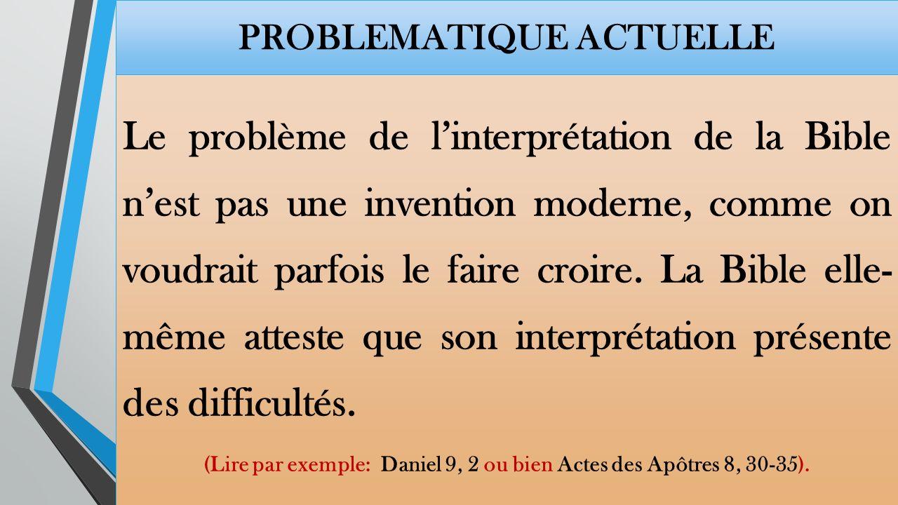 PROBLEMATIQUE ACTUELLE