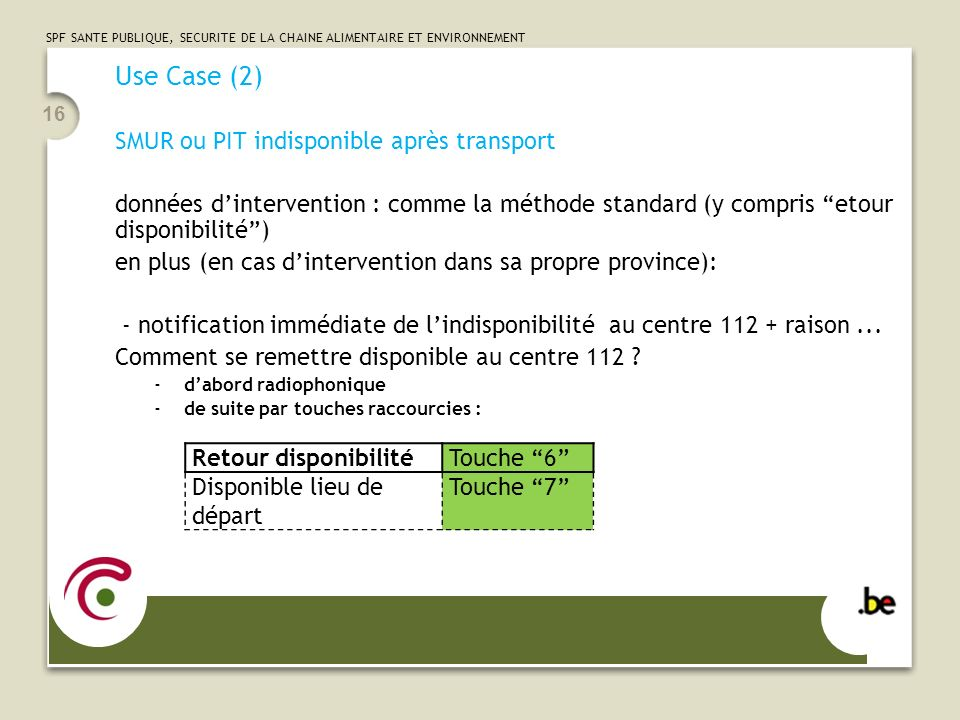 Use Case (2) SMUR ou PIT indisponible après transport