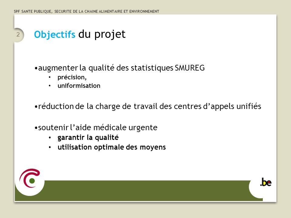 Objectifs du projet augmenter la qualité des statistiques SMUREG