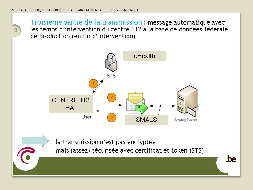 Troisième partie de la transmission : message automatique avec les temps d'intervention du centre 112 à la base de données fédérale de production (en fin d'intervention)