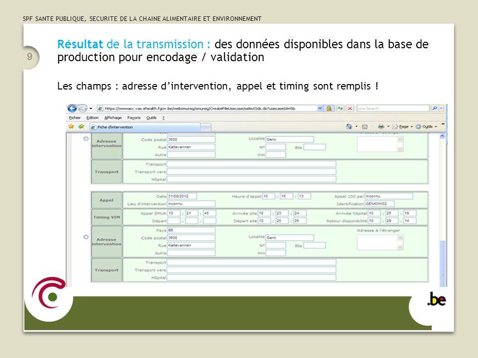 Résultat de la transmission : des données disponibles dans la base de production pour encodage / validation