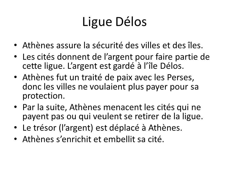 Ligue Délos Athènes assure la sécurité des villes et des îles.
