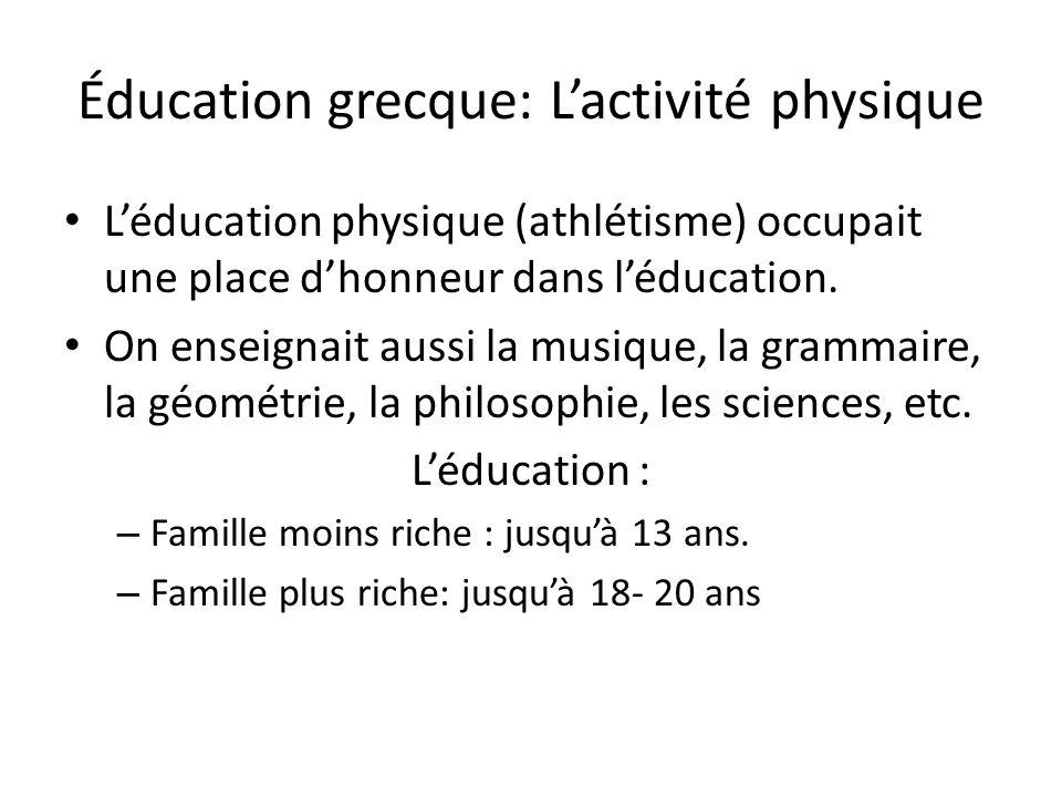 Éducation grecque: L'activité physique