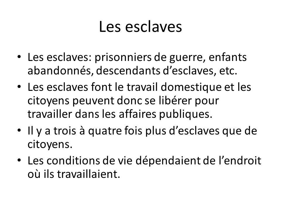 Les esclaves Les esclaves: prisonniers de guerre, enfants abandonnés, descendants d'esclaves, etc.