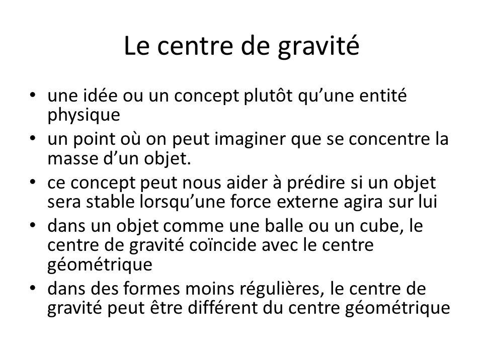 Le centre de gravité une idée ou un concept plutôt qu'une entité physique. un point où on peut imaginer que se concentre la masse d'un objet.