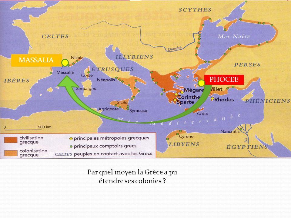 Par quel moyen la Grèce a pu étendre ses colonies