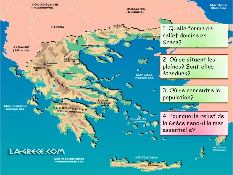 1. Quelle forme de relief domine en Grèce