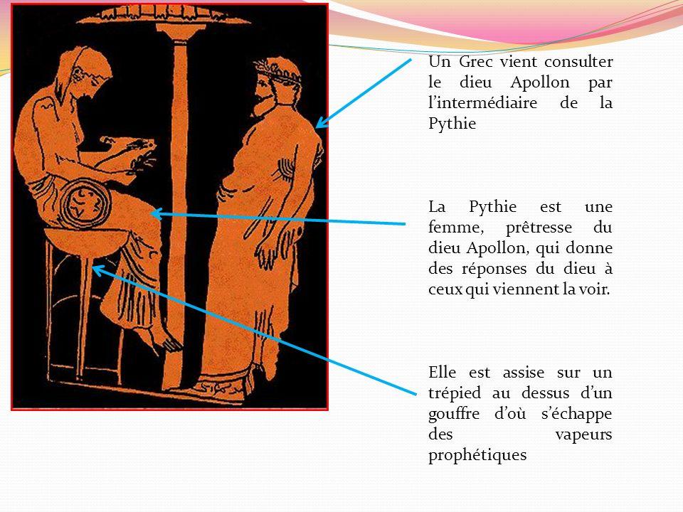 Un Grec vient consulter le dieu Apollon par l'intermédiaire de la Pythie