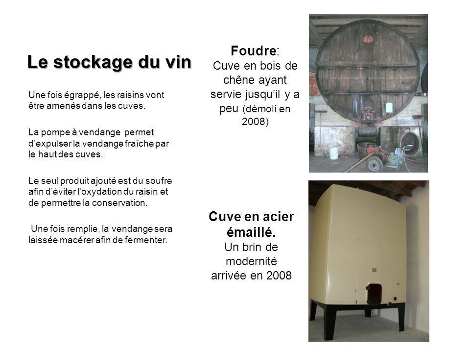 Le stockage du vin Foudre: Cuve en acier émaillé.