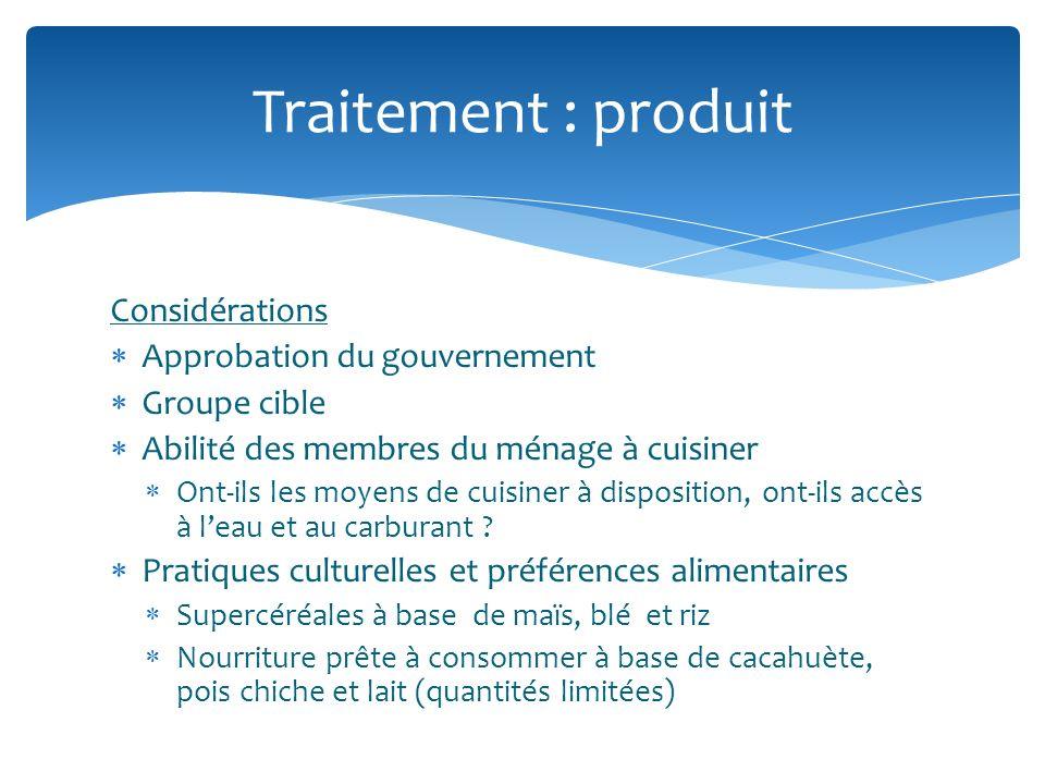 Traitement : produit Considérations Approbation du gouvernement