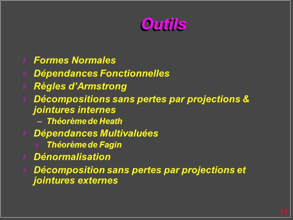 Outils Formes Normales Dépendances Fonctionnelles Règles d'Armstrong