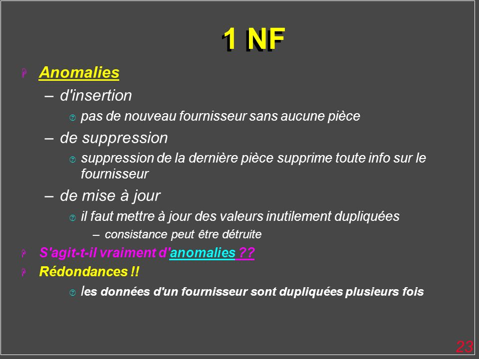 1 NF Anomalies d insertion de suppression de mise à jour