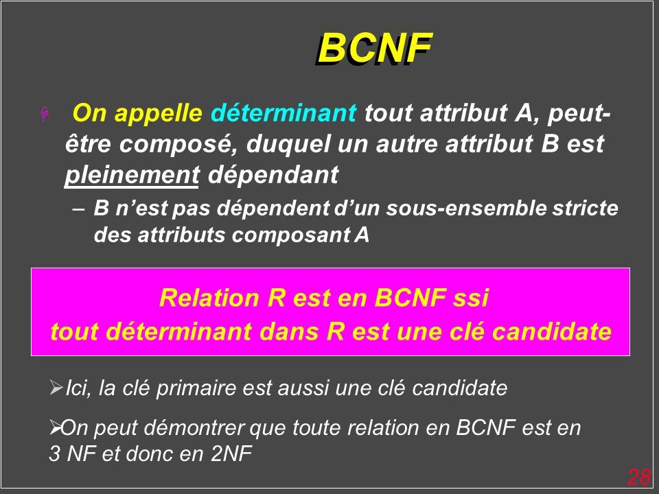 BCNF On appelle déterminant tout attribut A, peut-être composé, duquel un autre attribut B est pleinement dépendant.