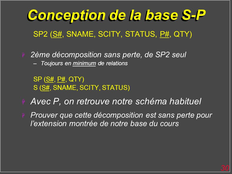 Conception de la base S-P