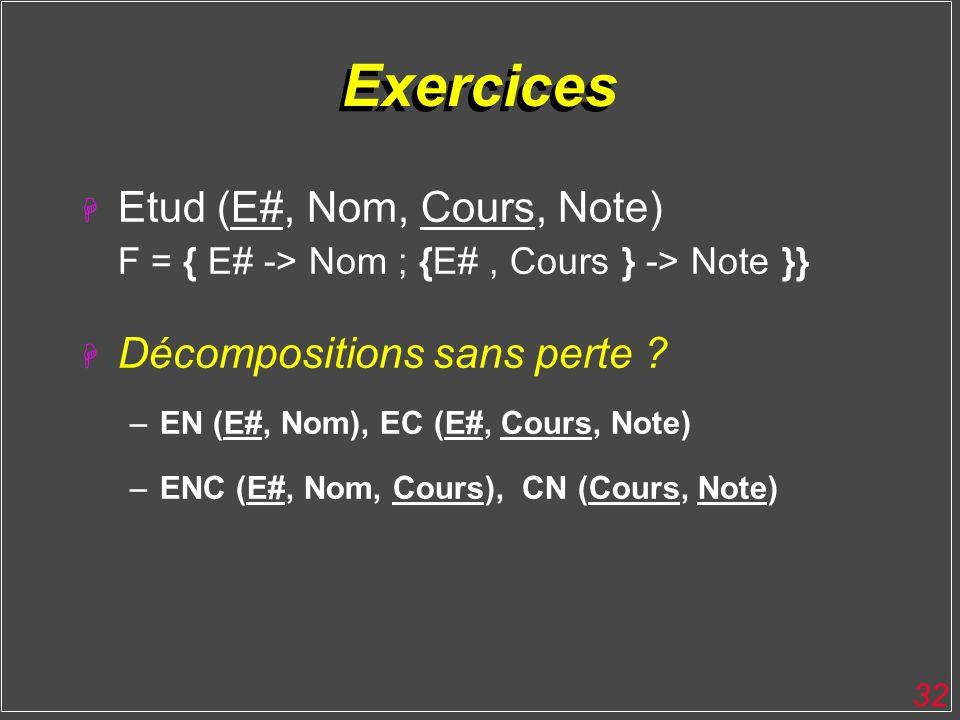 Exercices Etud (E#, Nom, Cours, Note) F = { E# -> Nom ; {E# , Cours } -> Note }} Décompositions sans perte