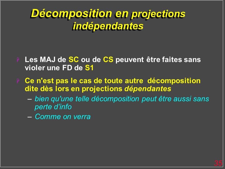 Décomposition en projections indépendantes