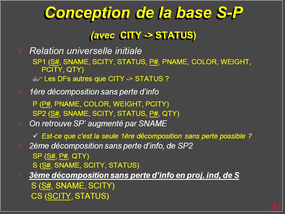 Conception de la base S-P (avec CITY -> STATUS)