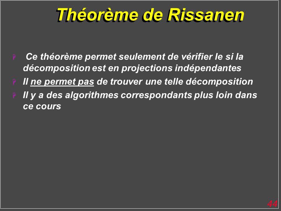 Théorème de Rissanen Ce théorème permet seulement de vérifier le si la décomposition est en projections indépendantes.